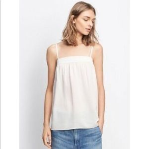 Vince Ivory Silk Embroidered Tank